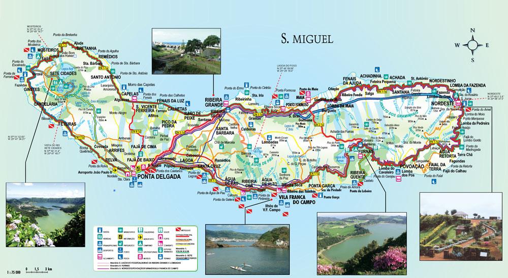 mapa ponta delgada São Miguel mapa ponta delgada
